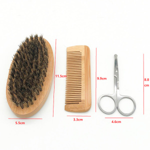 Image 5 - 6pcs/set Men Beard Kit Styling Tool Beard Oil Comb Beard Brushes Moisturizing Wax Cream Styling Scissors Beard Care Set