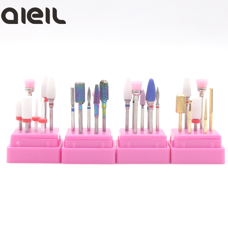 7PCS Ceramic Carbide Rotary Burr Nail Drill Set Nozzle For Manicure Electric Milling Cutter For Manicure Machine Cutter For Nail