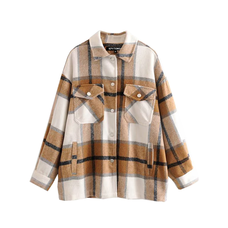 Ha2056483b05242099a7d7a754929557as Vintage Stylish Pockets Oversized Plaid Jacket Coat Women 2019 Fashion Lapel Collar Long Sleeve Loose Outerwear Chic Tops