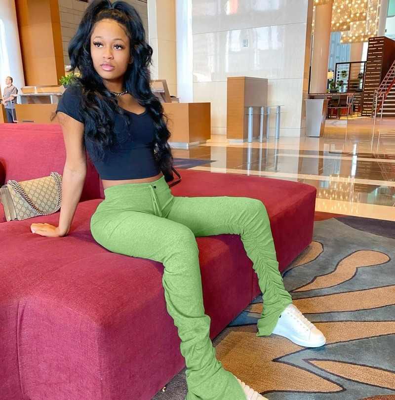 스웨트 팬츠 여성 플레어 팬츠 하이 웨이스트 바이커 바지 Sportwear 누적 된 조깅 벨 바닥 바지 숙녀 연필 레깅스