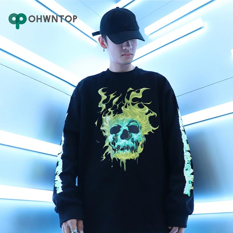 Fire Skull Printed Long Sleeve Tees Shirts 2020 Men Hip Hop Hisper Punk Rock Streetwear Male Fashion Casual Tops Cotton T Shirt