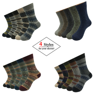 Image 3 - 5 Pairs/Lot Wool Socks Men Winter Warm Cashmere Comfortable Long Crew Casual Bohemian Sock Male Gift for Husband Father 4 Styles