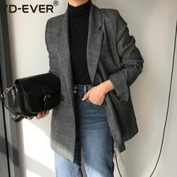 New 2020 Autumn Winter Women's Blazers Plaid Double Breasted Pockets Formal Jackets Notched Outerwear Tops JK7113