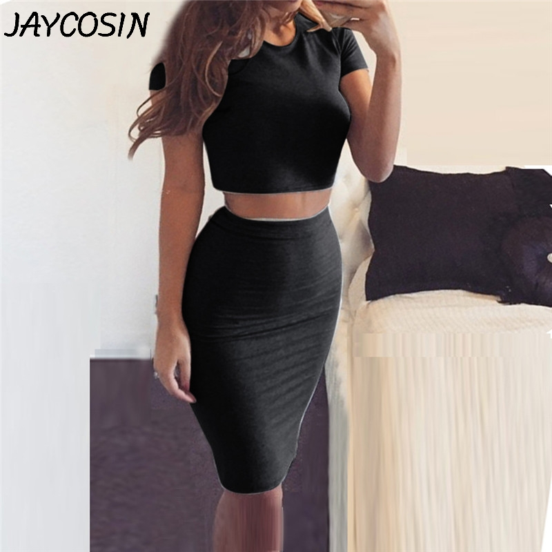 JAYCOSIN Women Suit Short Sleeve Solid Tops And Slim Sexy Bottom Wrap Skirt Set Suits 2 Piece Set Women Outfits matching sets a5