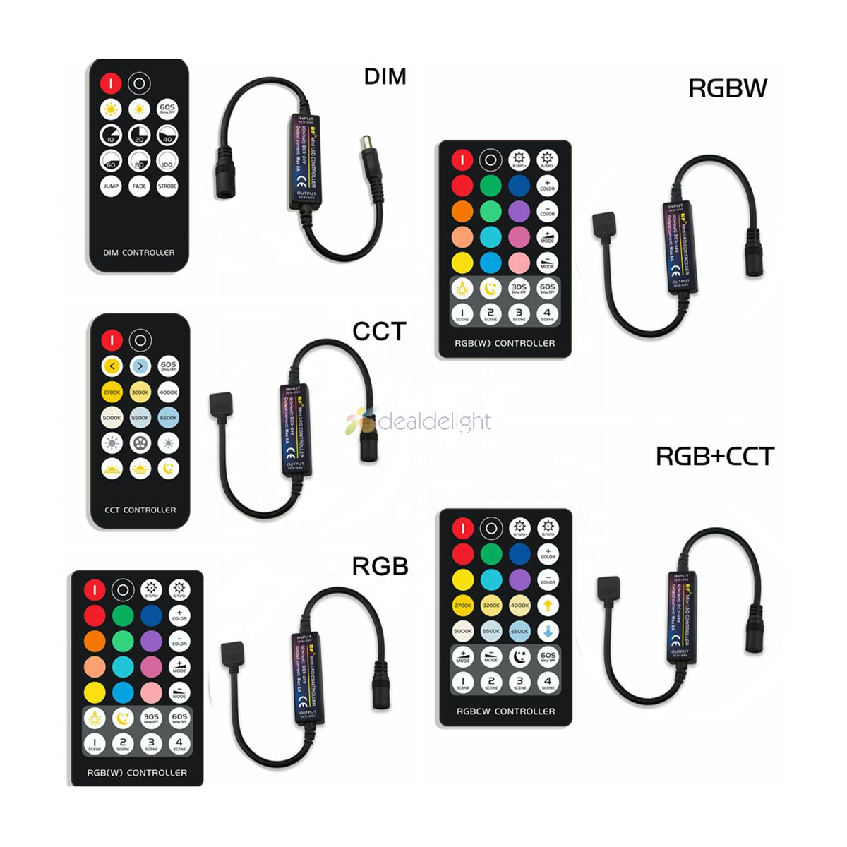 LED Strip Controller with RF Wireless Remote DC5-24V 6A for Single Color Dual White RGB RGBW RGB+CCT Strip Light controller