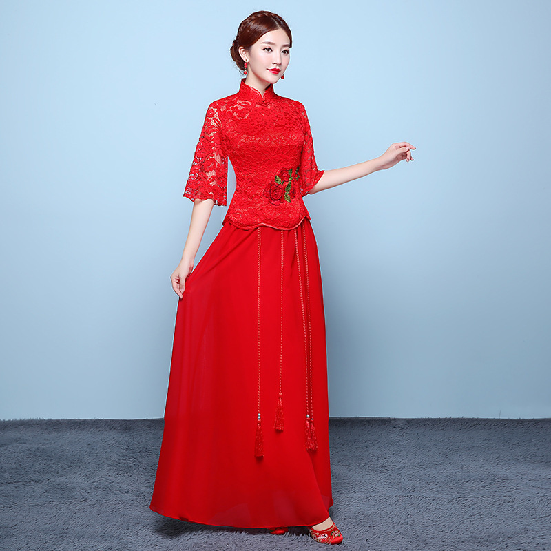 2019 Rushed Scoop Bridesmaid Vestidos De Madrinas De Bodas 2020 New Bride Wedding Dress Chinese Cheongsam Long Lace Toast Skirt
