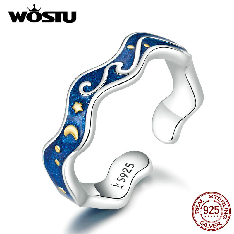 WOSTU Hot Fashion Real 925 Sterling Silver Starry Sky Blue Ring For Women Wedding Engagement Adjustable Rings Jewelry CQR608