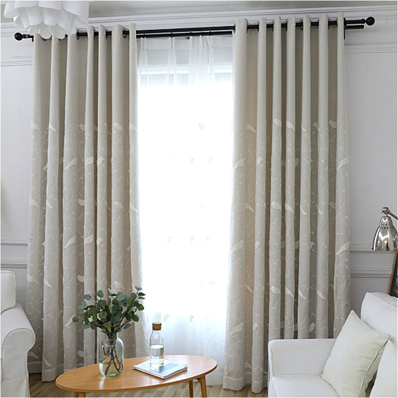 European White Birds Embroidered Tulles Sheer Voile Curtains + Blackout Curtains For Living Room Bedroom Double Modern Curtain