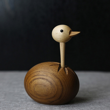 Nordic Handicraft Log Handmade Ostrich Puppet Solid Wood Ornaments Creative Home Decorations