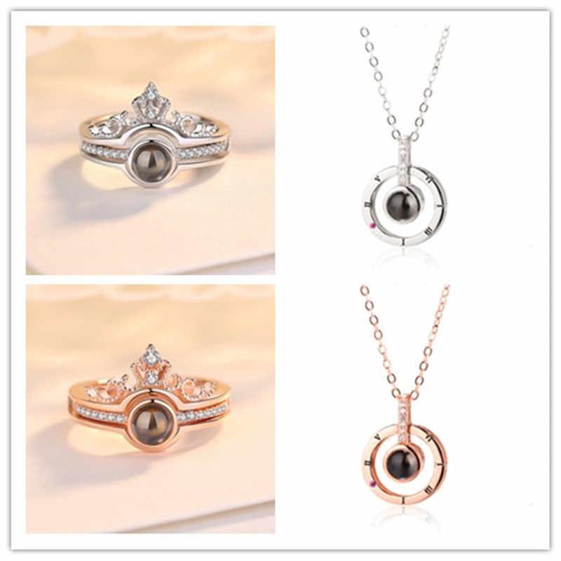 Dropshipping רוז זהב וכסף 100 שפות אני אוהב אותך הקרנת טבעת ותליון רומנטי אהבת זיכרון חתונה טבעת תכשיטים