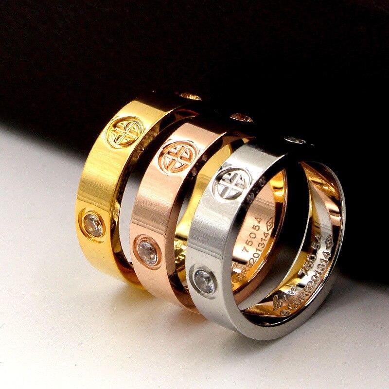 Titanio acero moda clásico caliente famosa marca Bague Cross Patter boda amor anillo para mujeres/hombres amantes del Color oro joyería Romántico forma de corazón miniatura de cristal personalizado artesanías de cristal regalos de amor DIY accesorios de decoración del hogar