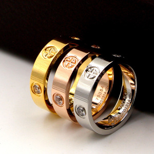 Titanium Steel Fashion Classic Hot Famous Brand Bague Cross Patter Wedding Love Ring For Women/Men Gold Color Lovers Jewelry