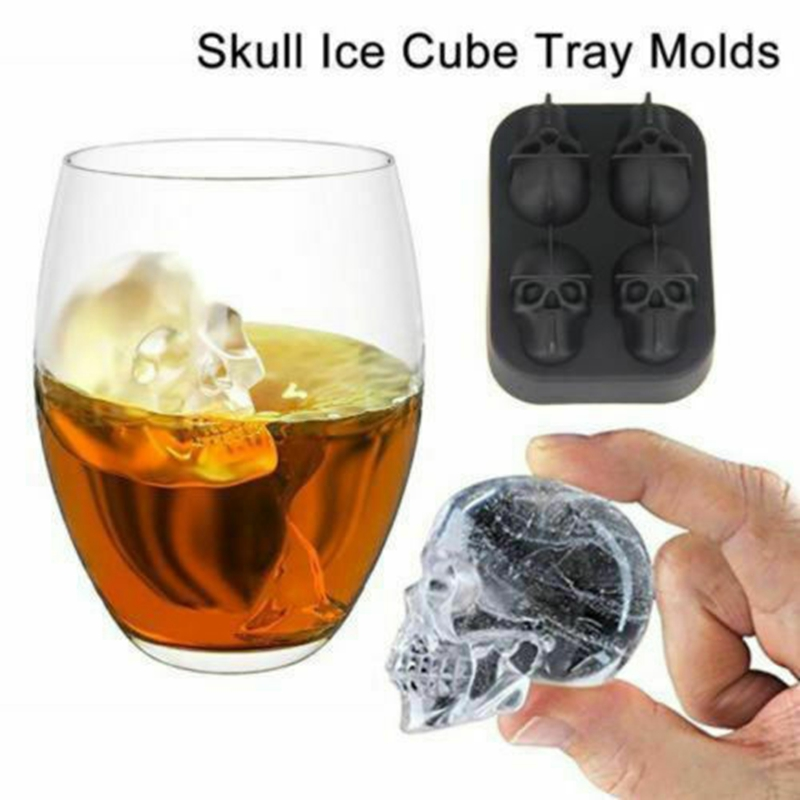 Flexible Silicone Skull Ice Cube Tray Molds Whiskey Ball Maker Party Halloween