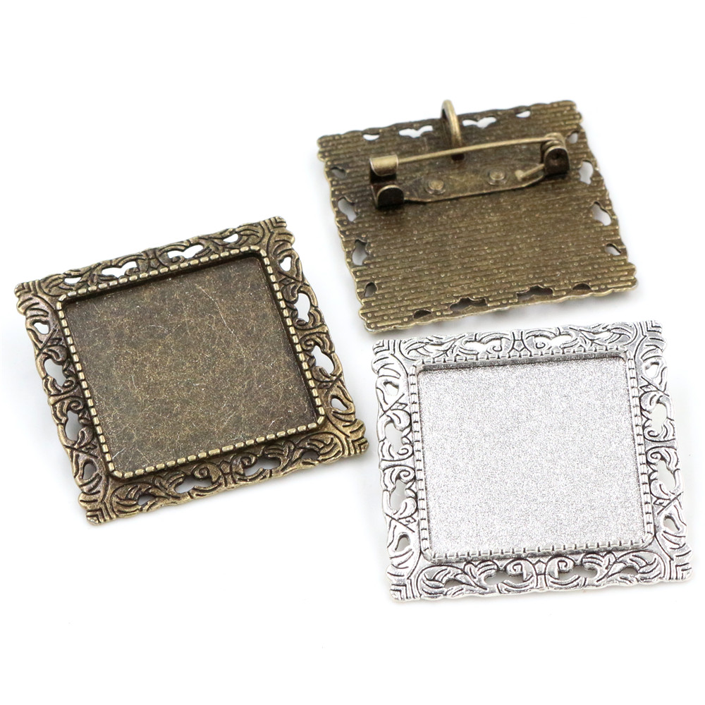 New Fashion  2pcs 25mm Inner Size Antique Silver Plated And Bronze Brooch Square Cabochon Base Setting