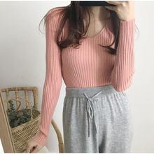 Повседневный вязаный женский пуловер однотонный с v образным