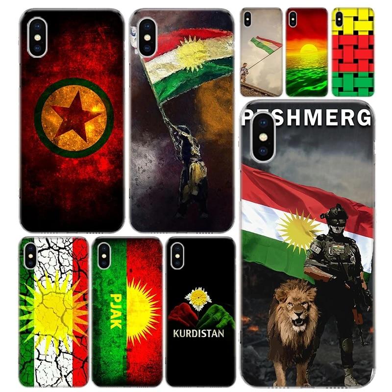 Kurdistan Flag Lion Phone Case Cover For Iphone 12 Mini Pro 11 7 8 6 6S Plus X XS MAX XR 5 5S SE Fashion Art TPU Coque Shell C