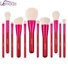 Набор кистей для макияжа lemoda 11 шт красные блестящие тени