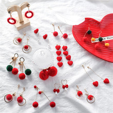 Vintage Red Ball Heart Geometry Bow Knot Women Girls Drop Dangle Earrings Collection Sets Fashion Jewelry-MSE vintage heart shape animal collection drop earrings