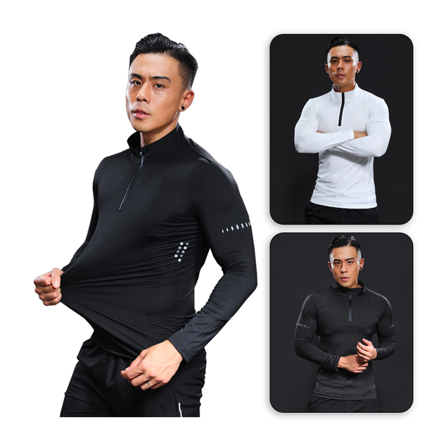Bodybuilding Long Sleeve Man Compression Fitness Running T shirts  Quick Dry Basketball Soccer Sport Top Brand Gym Shirt