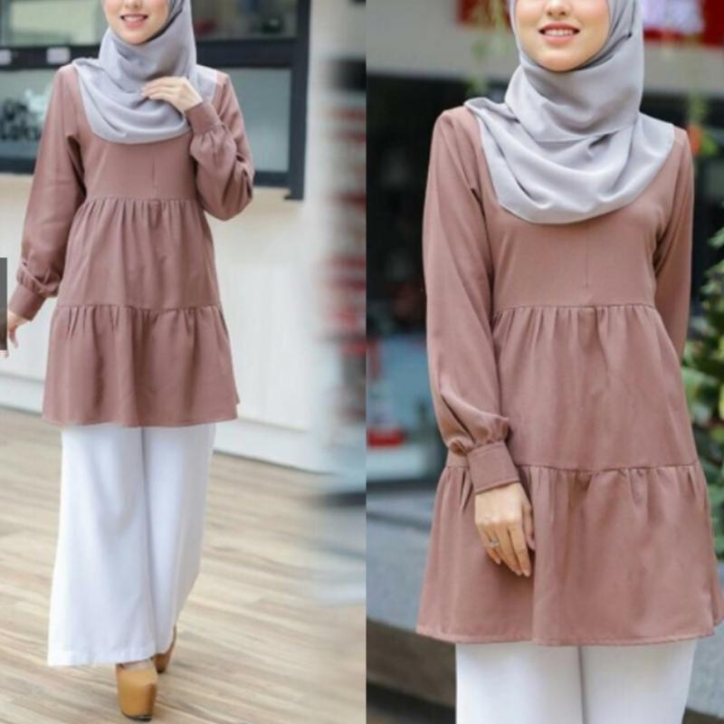 Women Muslim Long Sleeve Tunic Tops Flared Ruffles Hem Solid Color Pullover Loose Shirt Autumn Malaysia Turkey Abaya Dubai Vinta