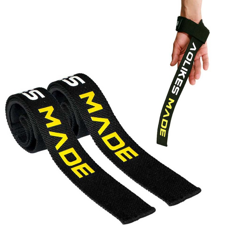 2pcs Fitness Weight Lifting Strap Adjustable Anti-slip SBR Cotton Silicone Hand Wraps Belt for Training Hard Pull Booster