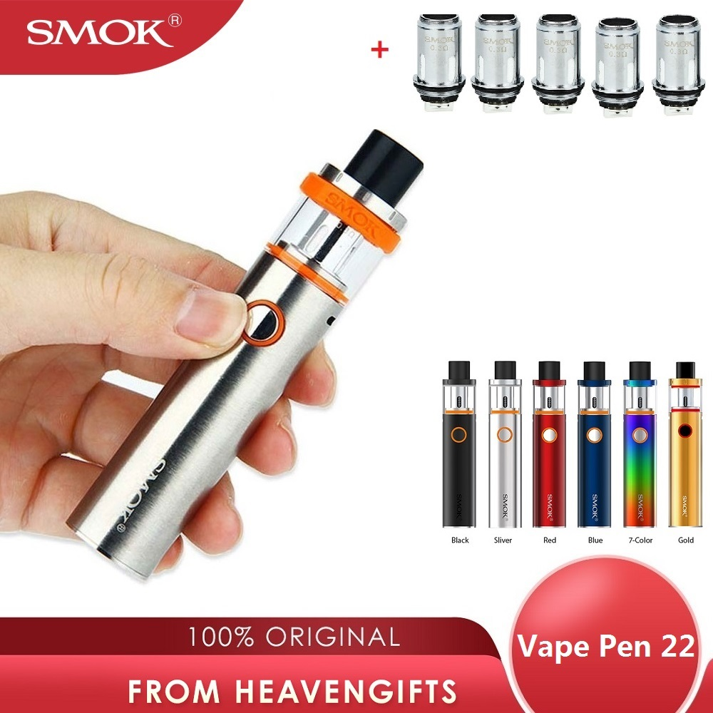 Original SMOK Vape Pen 22 Kit With Built-in 1650mah Battery No-leaking Tank Electronic Cigarette Vape Kit W/ 0.3ohm Dual Core