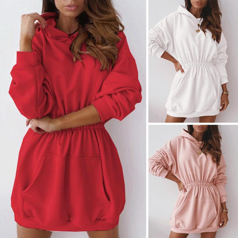 Женское повседневное зимнее однотонное платье-пуловер с длинным рукавом, толстовка с капюшоном