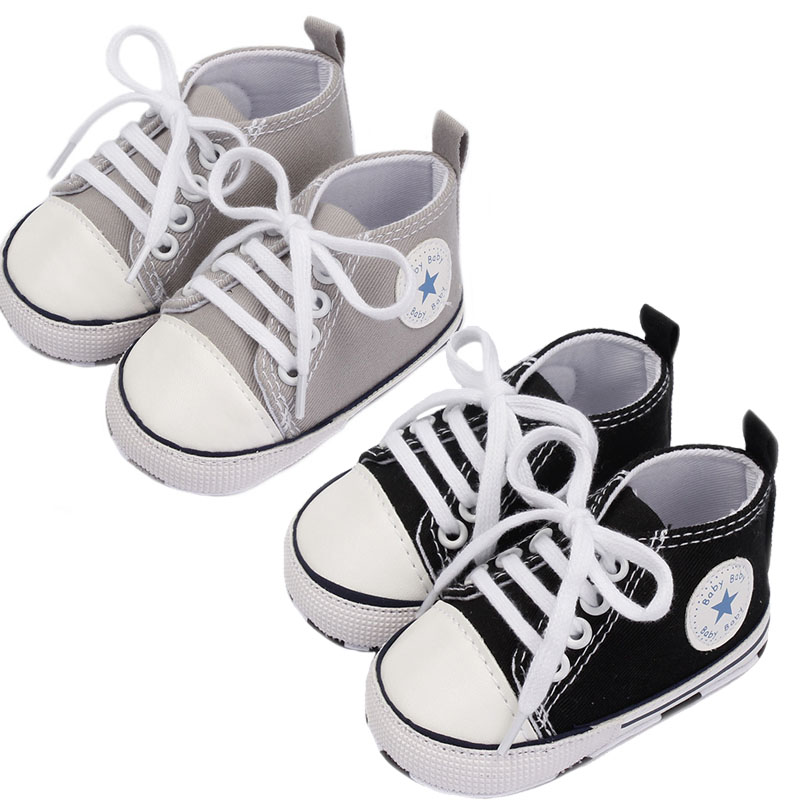 Baby Canvas Sneakers Soft Sole Shoes Pure Color Baby Casual Shoes Non-slip Infant Toddler First Walker Shoes Cross-Tie Sneakers