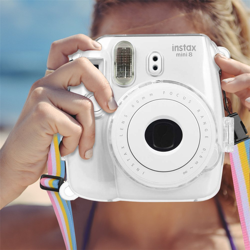 Crystal Transparent Protective Case Cover Pouch Shoulder Strap for Fuji Fujifilm Instax Camera Instant Mini 9 8 8+ Accessories