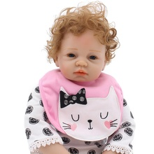 53cm Babe Reborn Baby Doll Cute Little Curls Imported Vinyl Silicone Lifelike Birthday Surprise