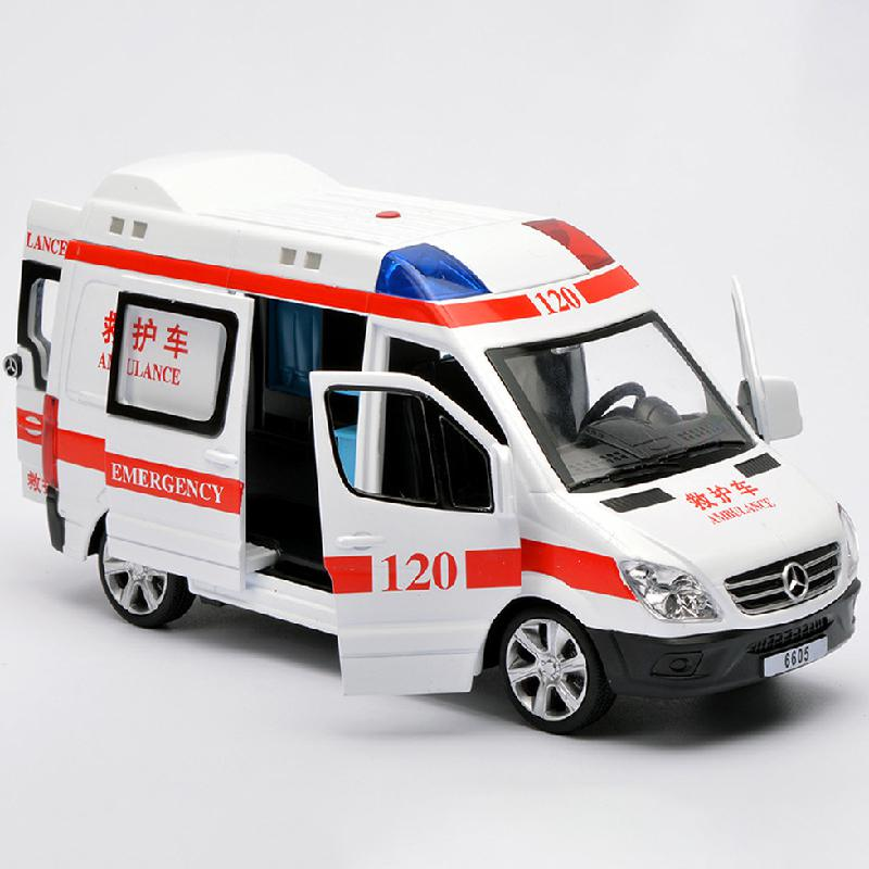 2019 Hot Selling 1:32 Simulation Sound And Light Pull Back Car Model Toy Ambulance Fire Alloy Diecast Car Toys For Children