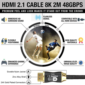 Image 2 - 8K HDMI compatible Cable @60Hz 4K@120Hz Ultra High Speed 48Gbps for Apple TV PS4 8K TV Digital Cables HDR10+ HDMI compatible 2.1