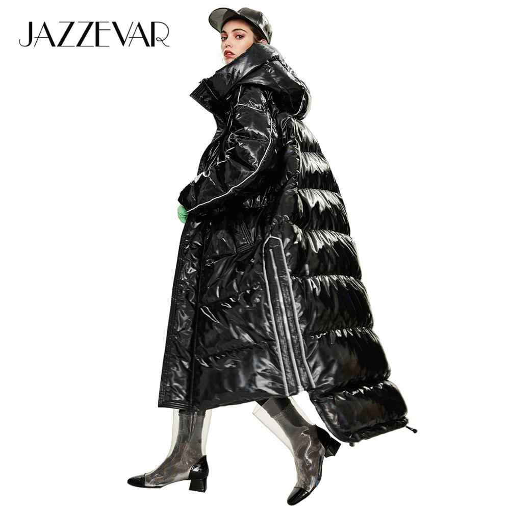 Jazzevar 2019 inverno nova chegada das mulheres para baixo jaqueta outerwear qualidade solto roupas estilo moda longo casaco de inverno feminino y9047
