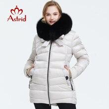 Astrid 2019 kış yeni varış şişme ceket kadınlar ile kürk yaka giyim kaliteli moda orta uzunlukta kış ceket FR-1830
