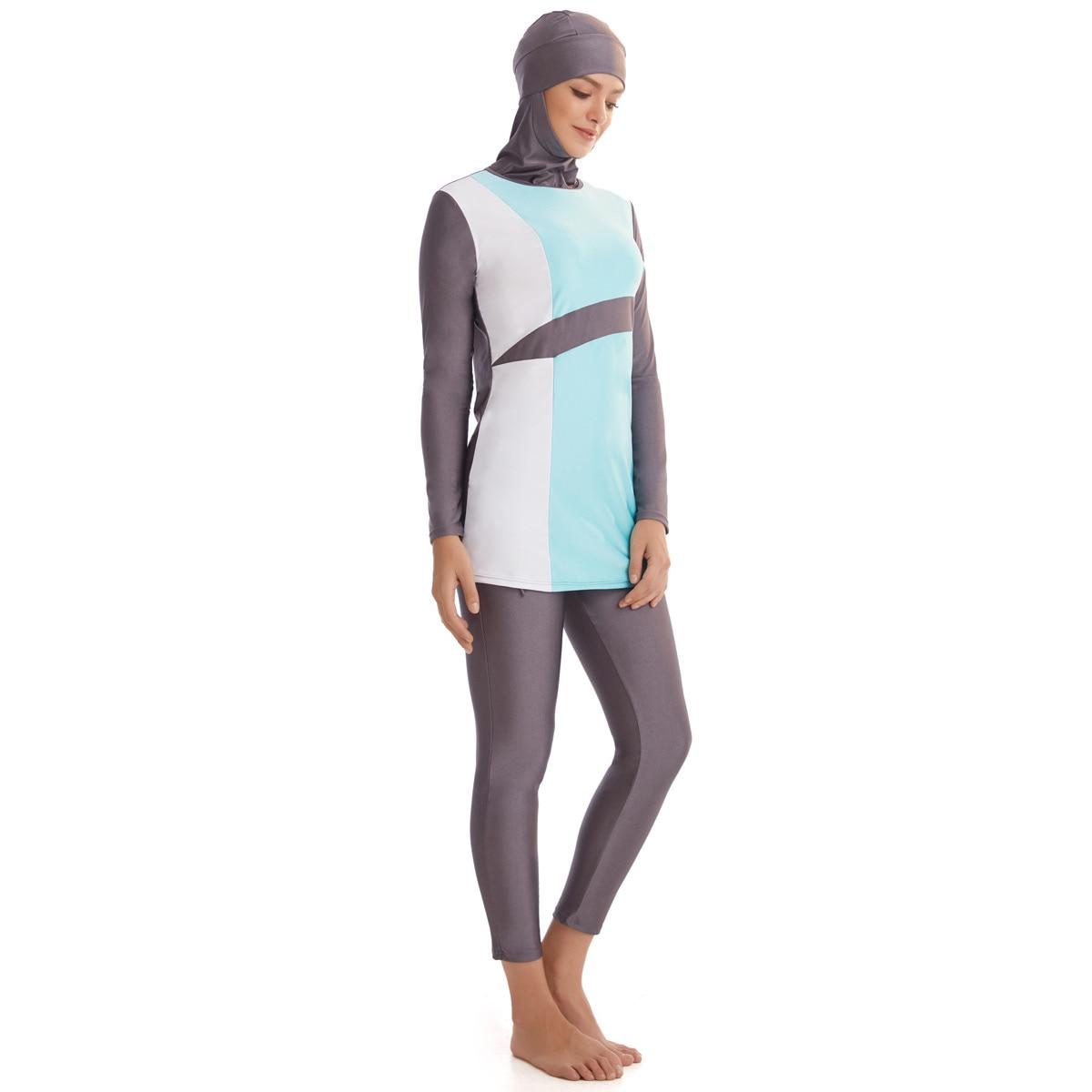 Hijab Swimsuit New Burkini Long Sleeve  Bathing Suit Women Islamic Habit Femme Burkinis Patchwork Color Muslim