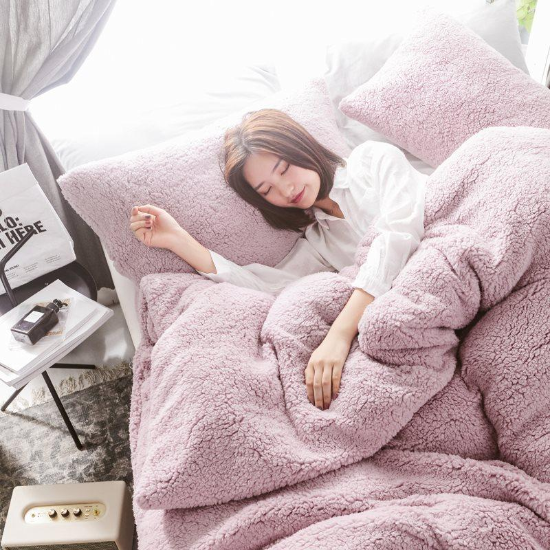 45Solid Lamb Cashmere Bedding Set 2019 New Thicken Flannel Fleece Bed Linens Velvet Duvet Cover Set Sandred Bed Cover Pillowcase