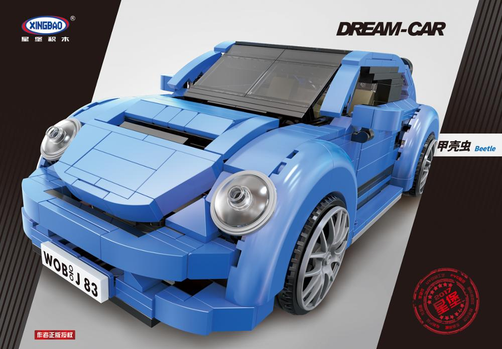 Купить с кэшбэком XingBao 03015 Genuine Creative MOC Technic Series The blue Beetle car Set Building Blocks Bricks Toys for Children Model Kit DIY