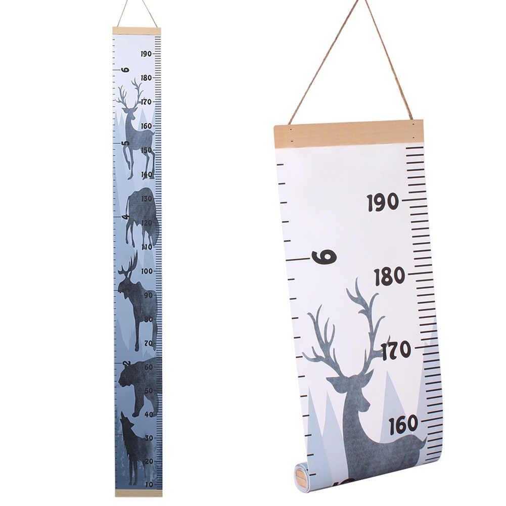 เนอสเซอรี่ไม้ Nordic สไตล์เด็กแผนภูมิความสูงเด็ก Growth แขวนผนังเด็กวัดไม้บรรทัดเด็ก DIY ตกแต่ง Roll Up