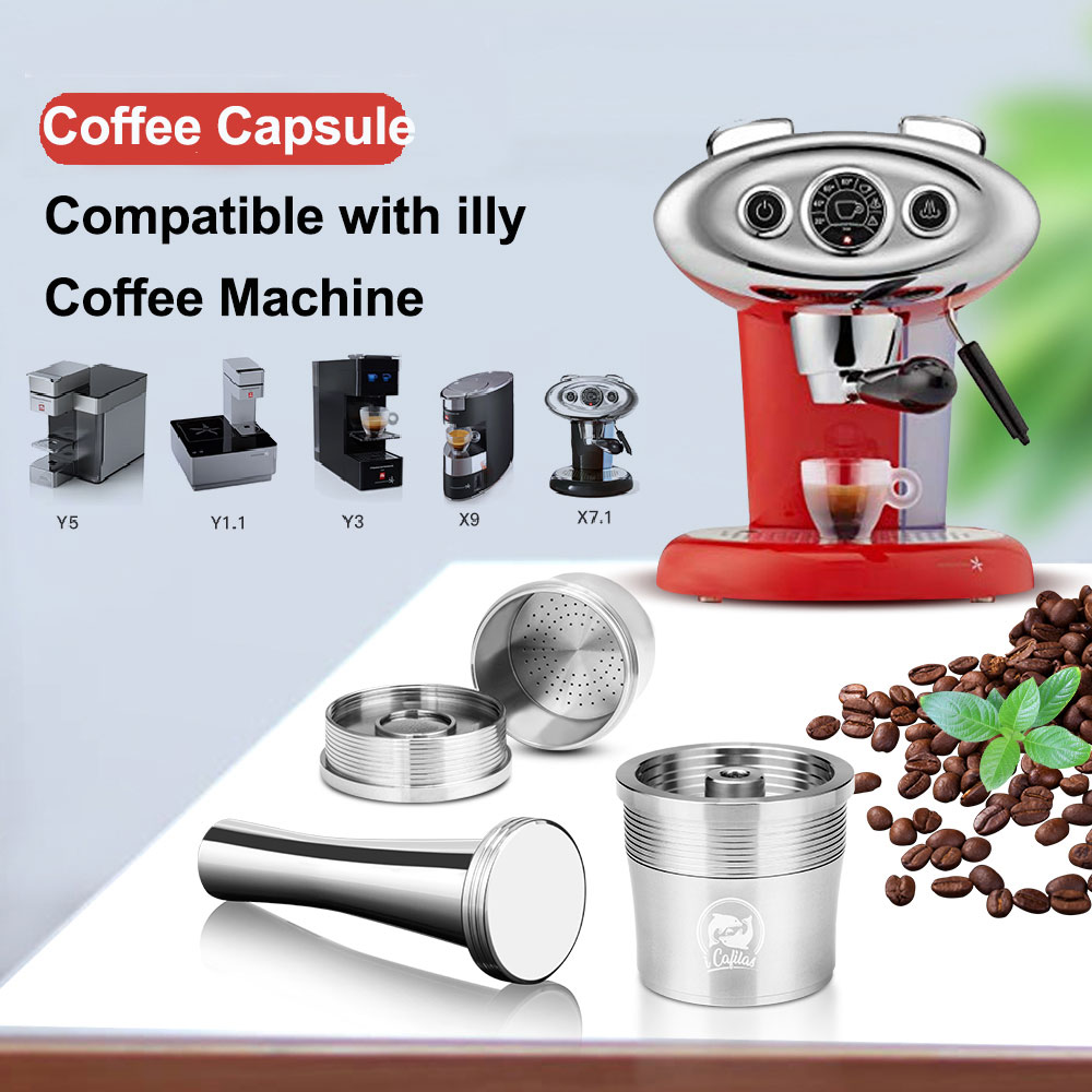 Reusable Coffee Filter For ILLY  Y3.2 X9 X8 X7.1 Y5 Y3  Y1.1 Coffee Machine Stainless Steel Coffee Capsule Cups With Tamper