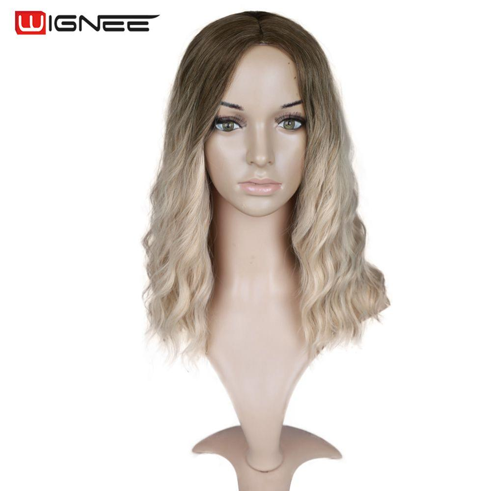"Image 2 - Wignee Ombre Black To Blond Wig Side Part 14"" Synthetic Wigs for Women  Wavy  Cosplay Daily Heat Resistant Natural Short HairSynthetic None-Lace  Wigs   -"