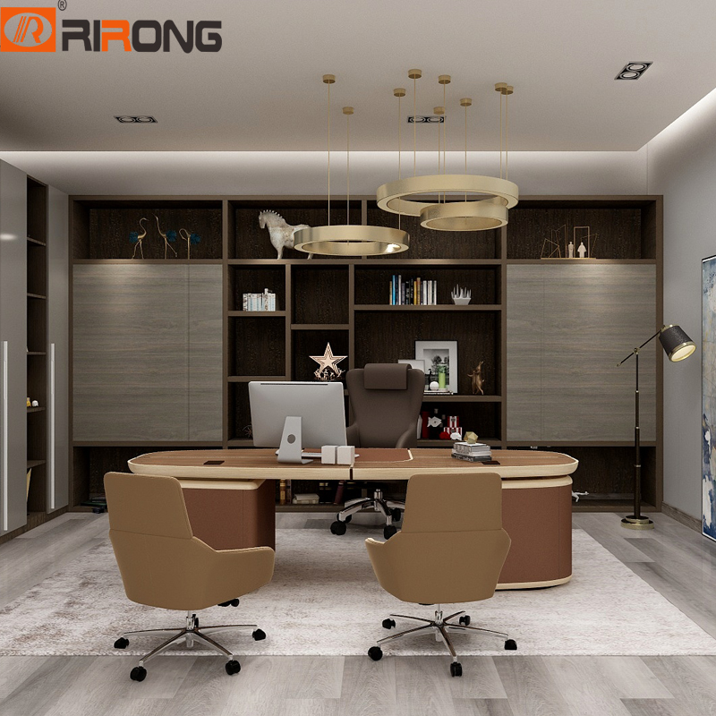 Lxury Itay Design Home Office Study Room Brown Chocolate Standing Leather Wooden Desk Office Desktop Executive Table Desk Set