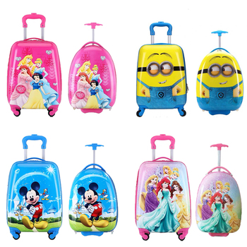 цена на 16/18 inch Kids Cartoon rolling luggage children travel suitcase on wheel trolley luggage carry-ons hardside bag for kid gift