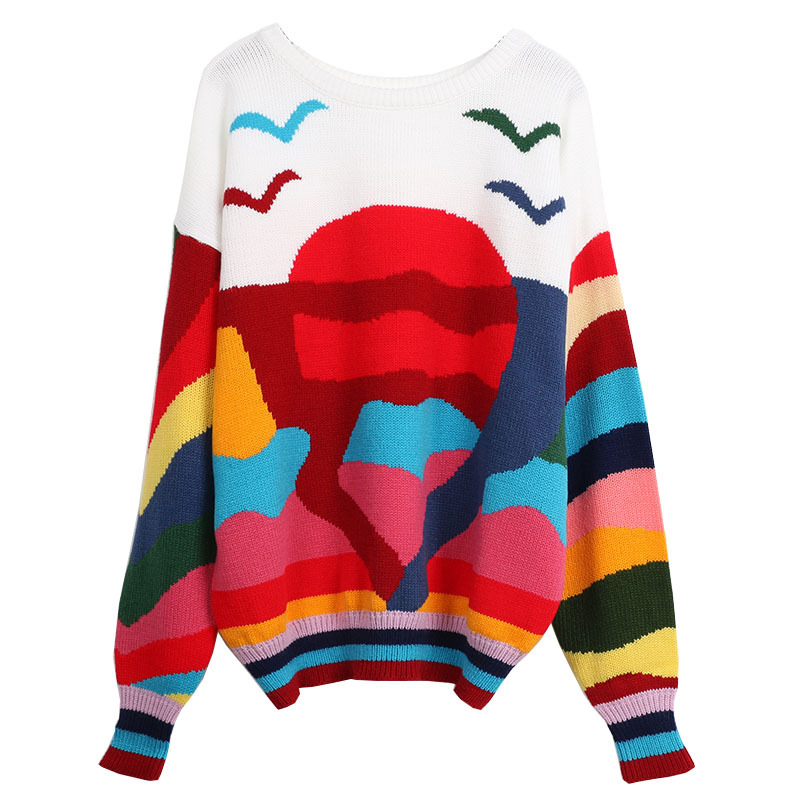 Korean Style Contrast Color Stitching Sunrise Rainbow Sweater Women's Clothing Long Sleeve Casual Pullover Tops TA8639