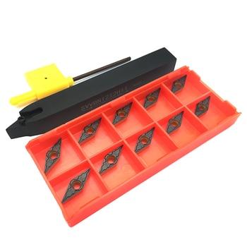 10PCS VBMT110304 TM PC4225 Carbide Inserts + 1PC SVVBN1212H11 Tool Holder CNC Lathe Tools External Turning Set