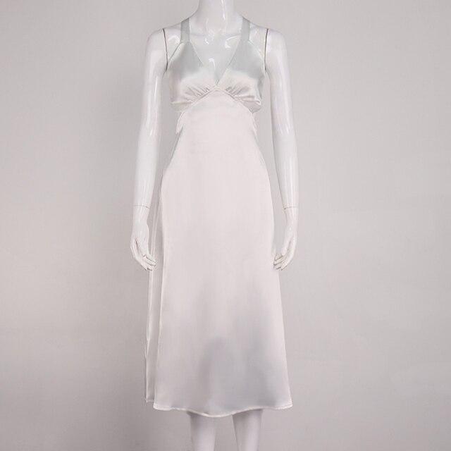 NewAsia Backless White Dress Woman Tie up V Neck Split Midi Sexy Dresses Ladies A Line Robe Casual Party Fashion Beach Vestidos 5