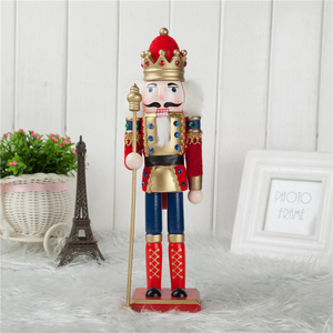 Retro 30cm Wooden Nutcracker Soldier Figures Figurine Home Ornaments