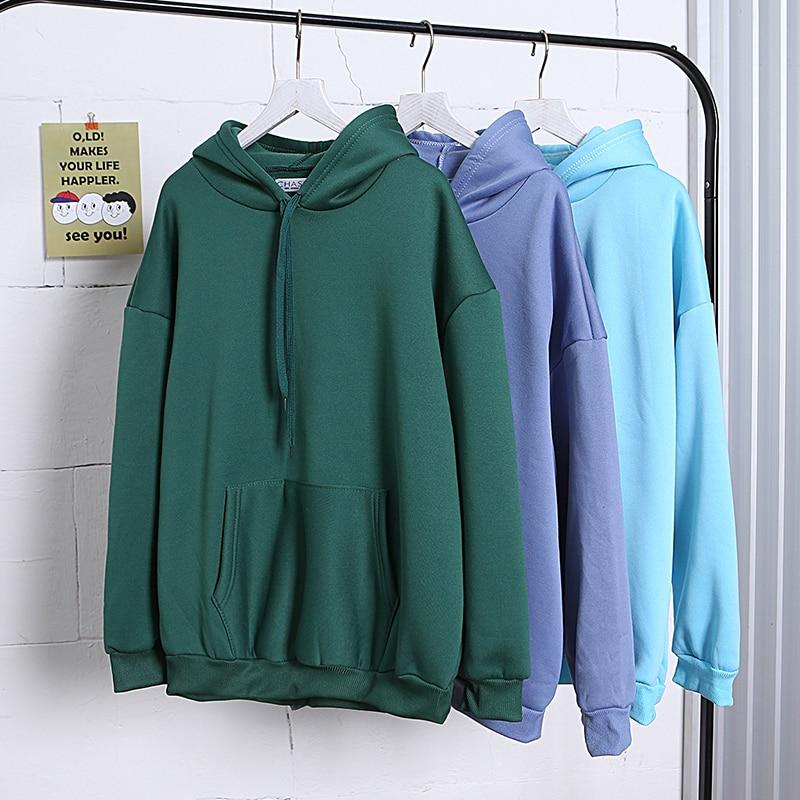 Size Fashion Colorful Hoodies Men's Thicken Clothes Winter Sweatshirts Men Hip Hop Streetwear Solid Fleece Man Hoody