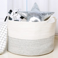Woven Baby Laundry Basket for Blankets Toys Storage Basket with Handle Comforter Cushions Storage Bins Thread Laundry Hamper-Bla