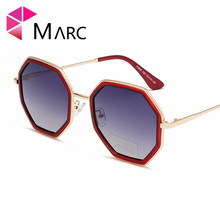MARC women vintage Brand sunglasses men metal Trendy gold green brown 2019 male octagonal sun glasses for ladies polygon uv400