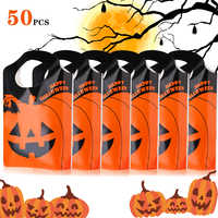 50 PCS Halloween Tote Bags Pumpkin Bags Trick or Treat Bags Party Goody Tote Bags Gift Bag with Handles Party Favors Bags